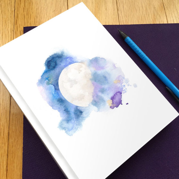 Cosmic Moon Hardbound Gratitude Journal by Hand-Painted Yoga