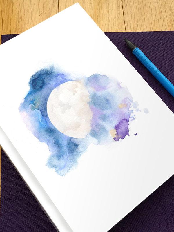 Cosmic Moon Hardbound Gratitude Journal by Hand-Painted Yoga