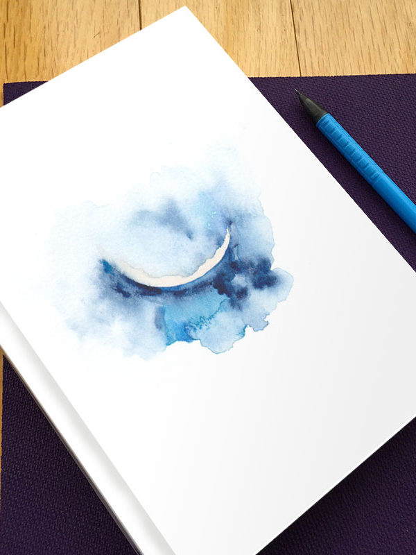 Crescent Moon Hardbound Gratitude Journal by Hand-Painted Yoga