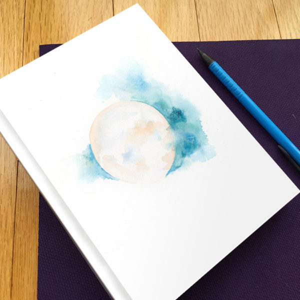 Sacred Moon Hardbound Gratitude Journal by Hand-Painted Yoga