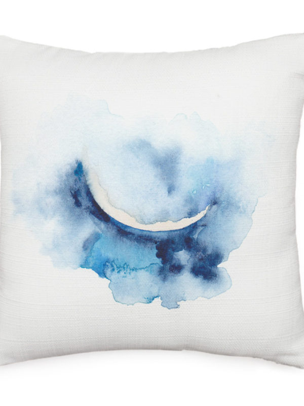 Crescent moon watercolor throw pillow by Hand-Painted Yoga