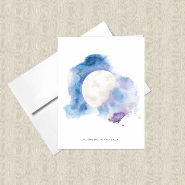 Cosmic Moon Watercolor Greeting Cards by Hand-Painted Yoga