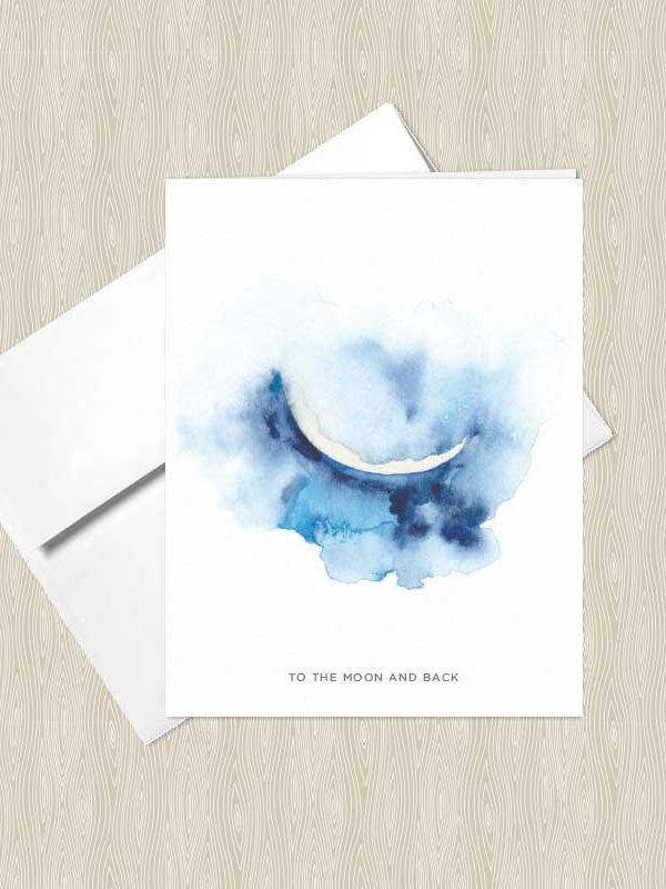 Crescent Moon Watercolor Greeting Cards by Hand-Painted Yoga