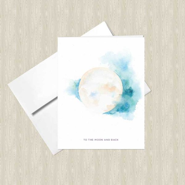 Sacred Moon Watercolor Greeting Cards by Hand-Painted Yoga