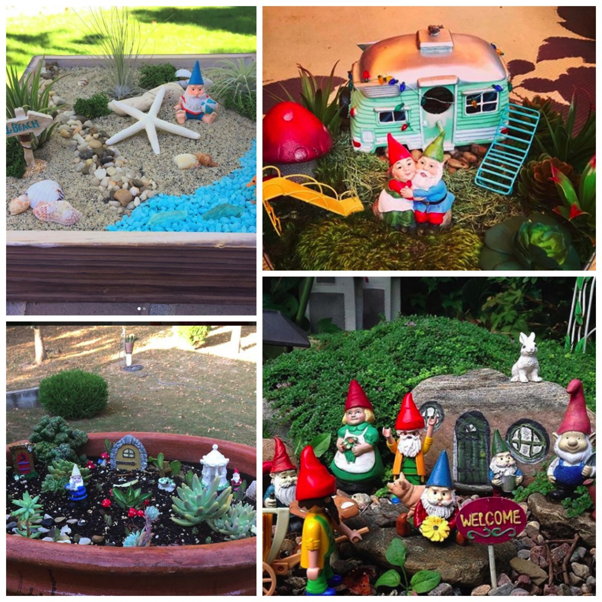 Beach gnome garden idea and married gnomes
