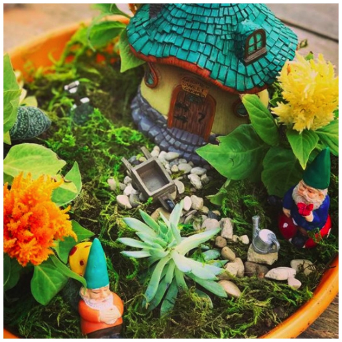 Colorful gnome garden idea for pot