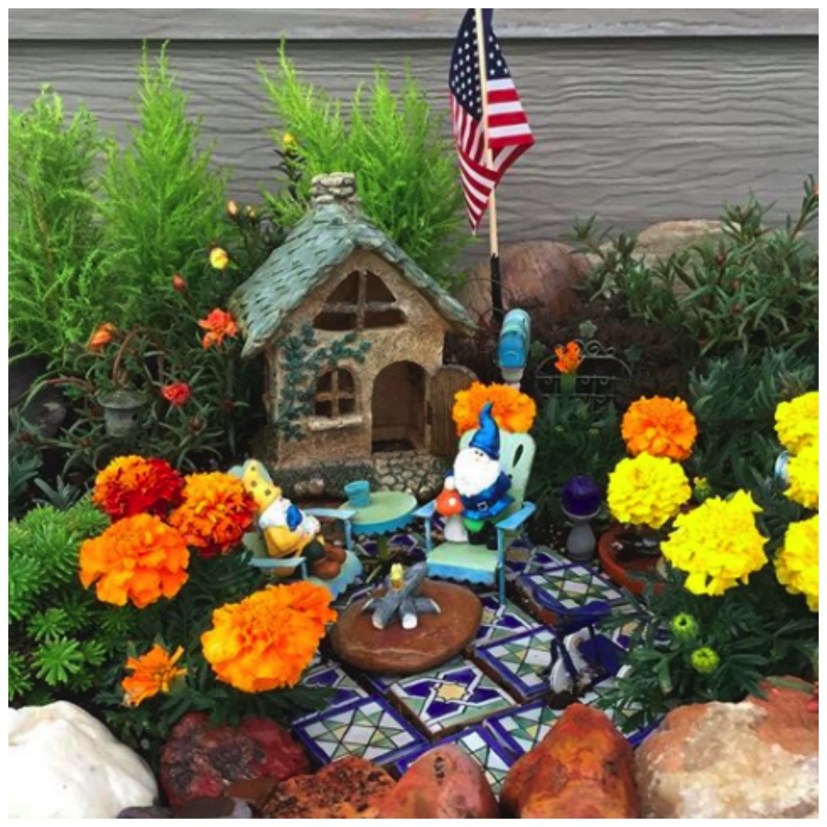 Gnome garden with home and recycled tile