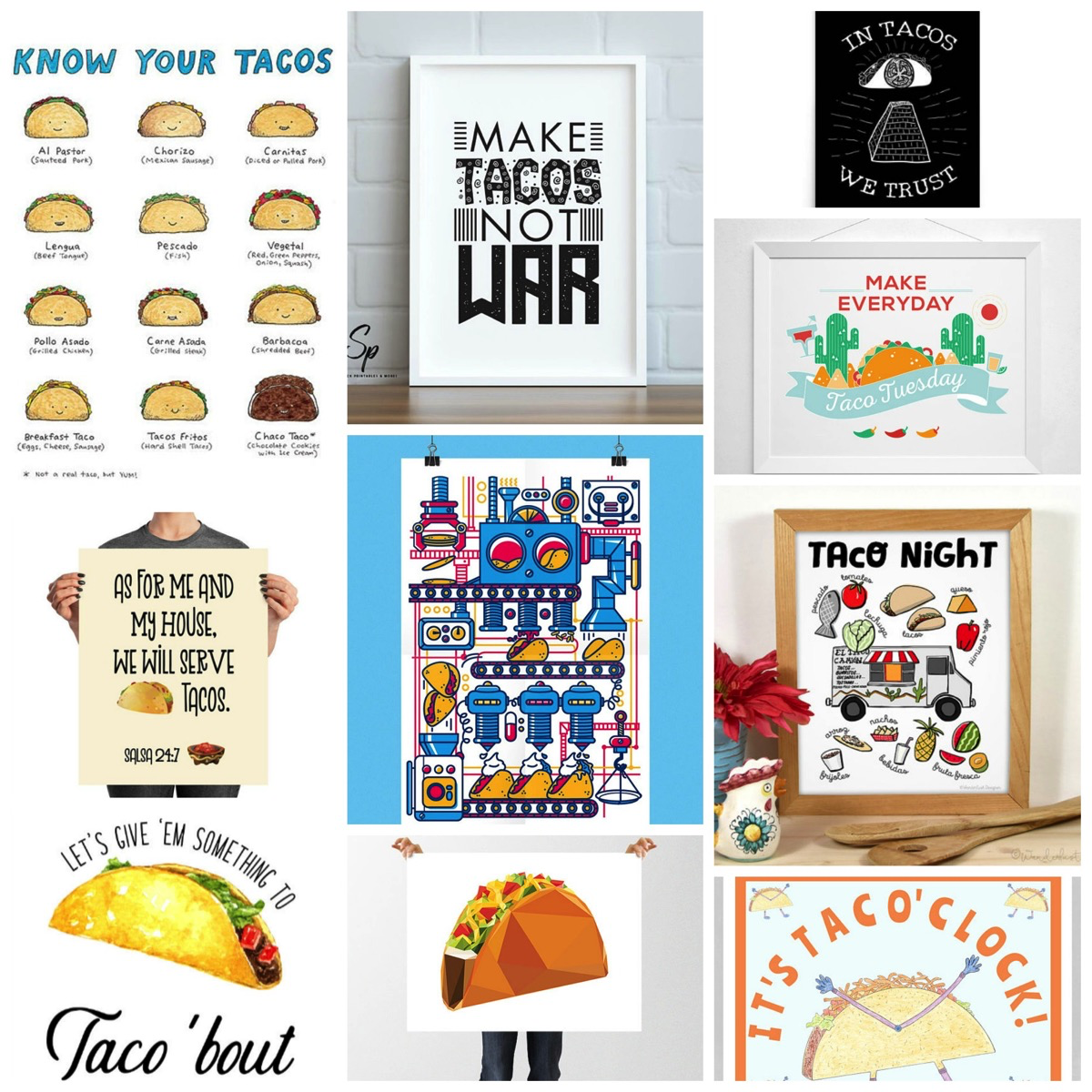 Top 10: Taco Tuesday Taco Artwork Prints For Your Home From Etsy