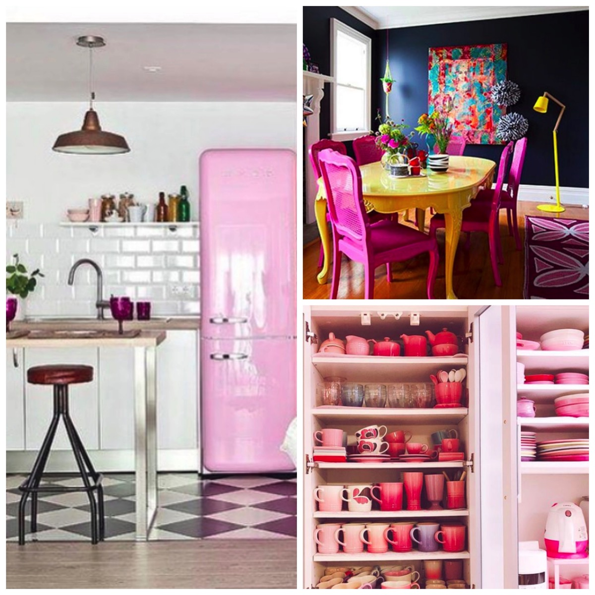 Pink kitchen and dinning room ideas