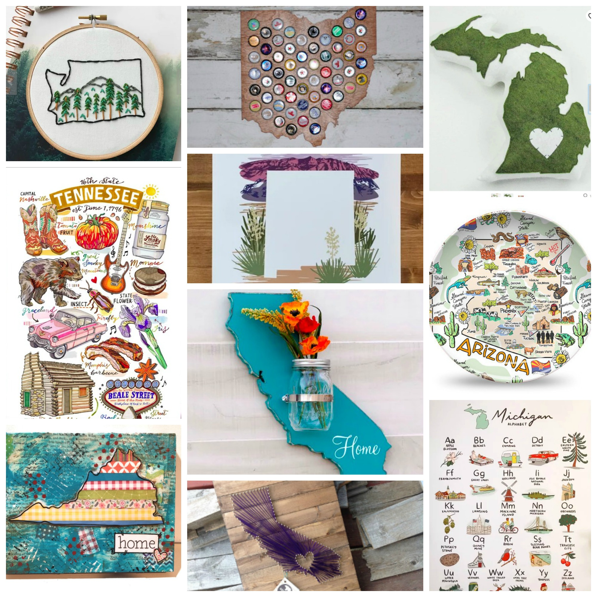 Top 10: 50 United States Home Decor and Art from Etsy, Perfect for House Warming, Wedding and Birthday Gifts