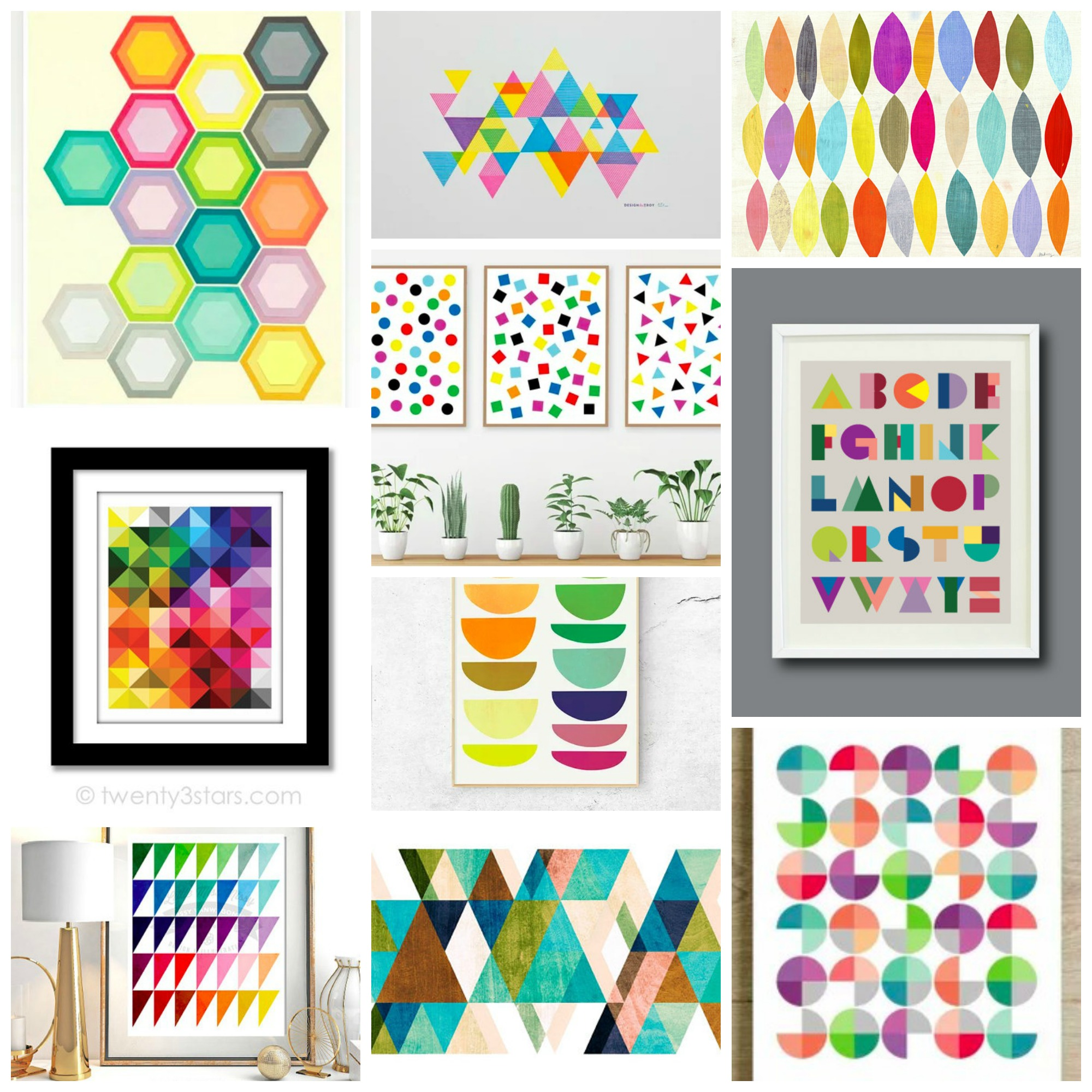 Top 10: Abstract Geometric Art For Your Home, The Most Colorful, Bold and Unique Pieces from Etsy