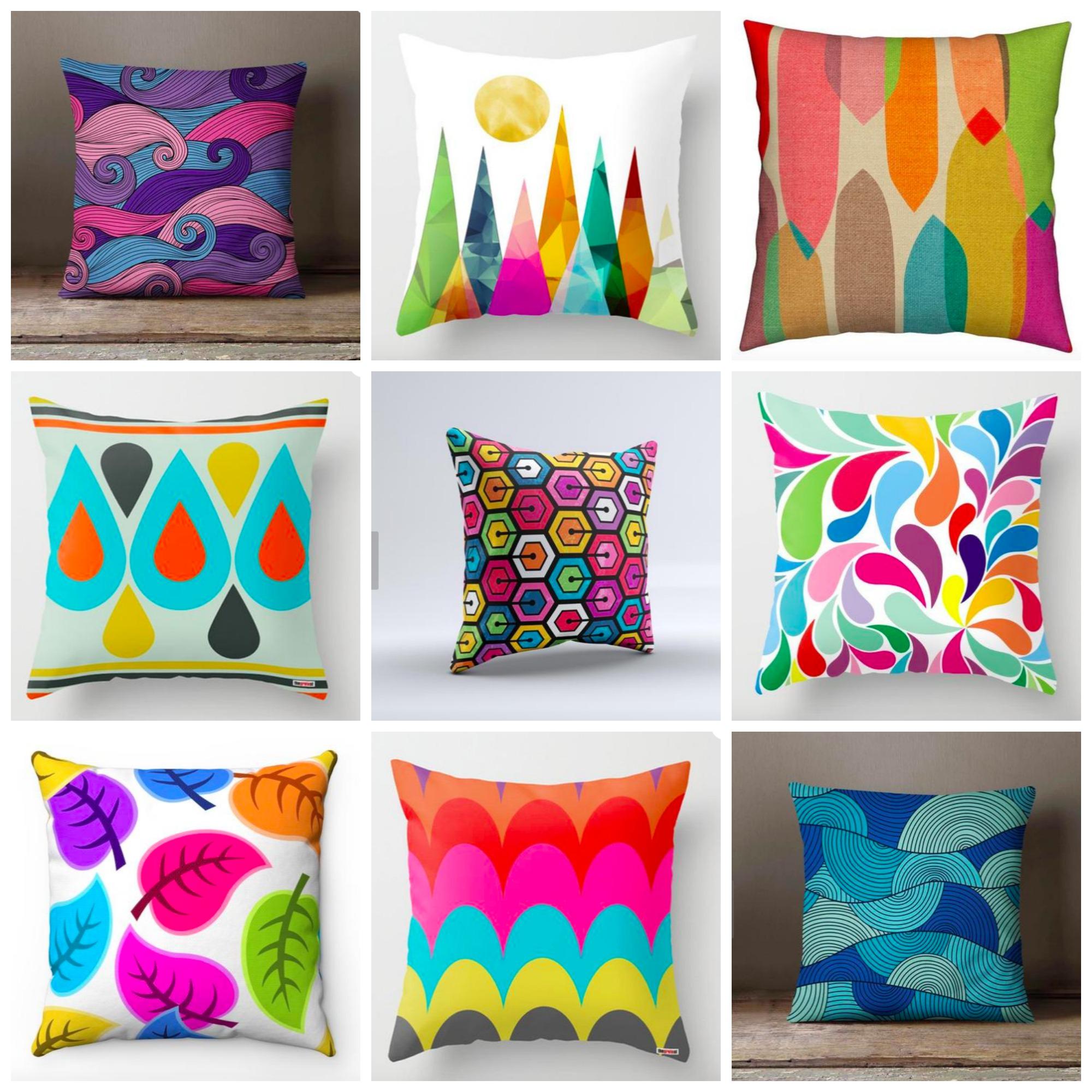 The Most Bold, Colorful and Eclectic Decorative Pillows For Your Home From Etsy Shops Featuring Geometric and Unique Color Patterns