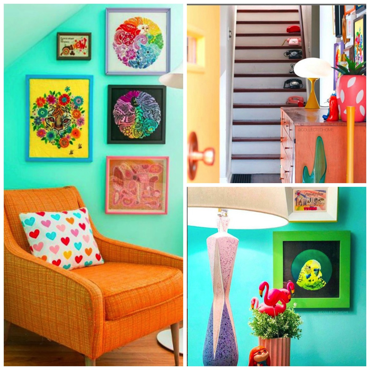 Colorful vintage inspired collected home of Nikki