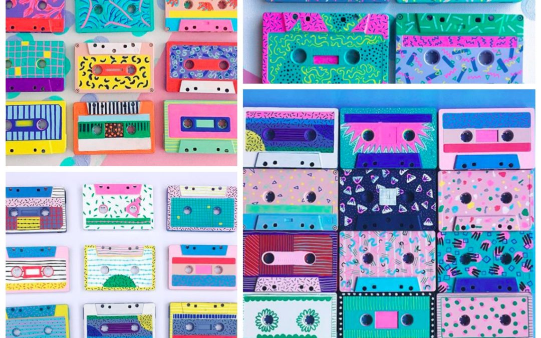 Mix Tape Memories, Funky and Vibrant Recycled Cassette Tape Art by Sophie of Wooden Flamingo