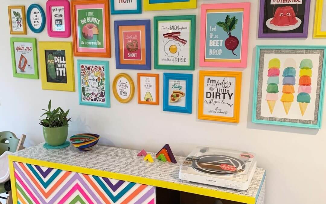 Funny and Colorful Kitchen Gallery Wall