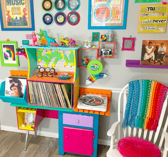 Colorful Music Themed Gallery Wall With Vinyl Record Player