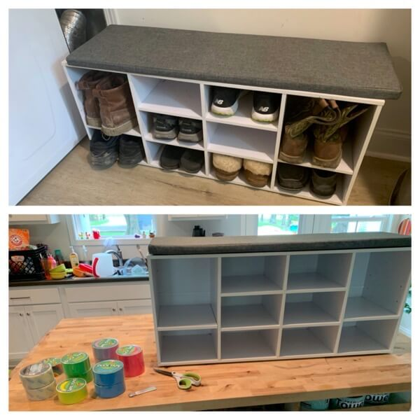 Shoe bench DIY with Duct tape