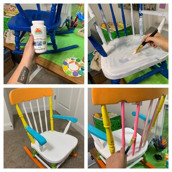 Painting a used childrens rocking chair rainbow colors