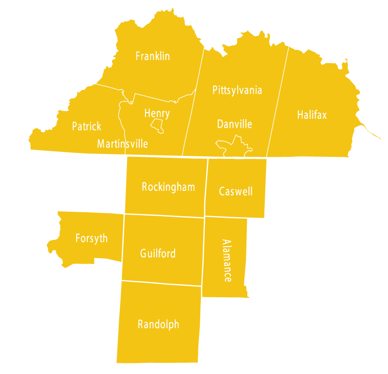 Counties we serve in Southern Virginia and Northern North Carolina, including Franklin, Patrick, Martinsville, Henry, Pittsylvania, Danville, Halifax, Virginia and Rockingham, Caswell, Forsyth, Guilford, Alamance, and Randoph, North Carolina.