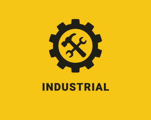 Industrial icon on a yellow background with a gear containing a hammer and a wrench
