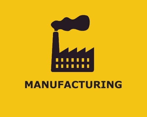 Manufacturing icon with black industrial factory and black smokestack