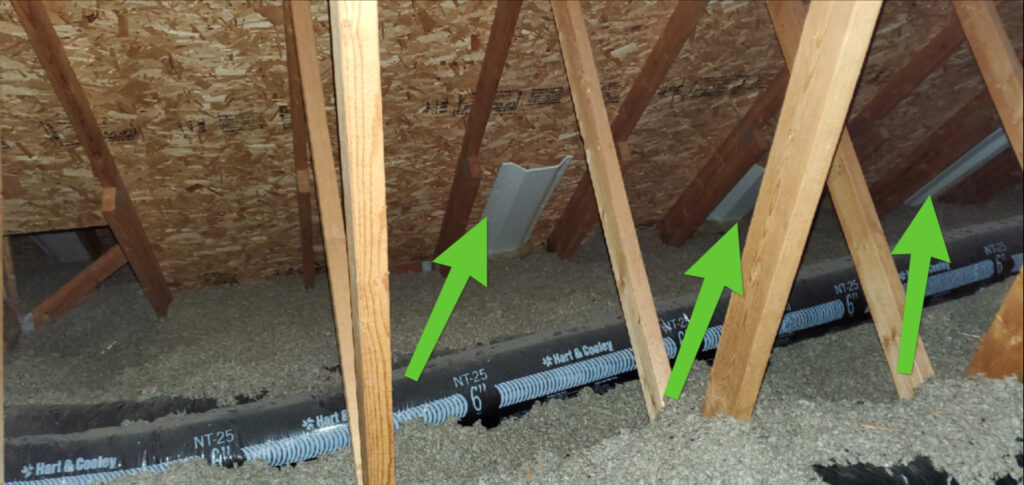 Installed wind baffles in attic