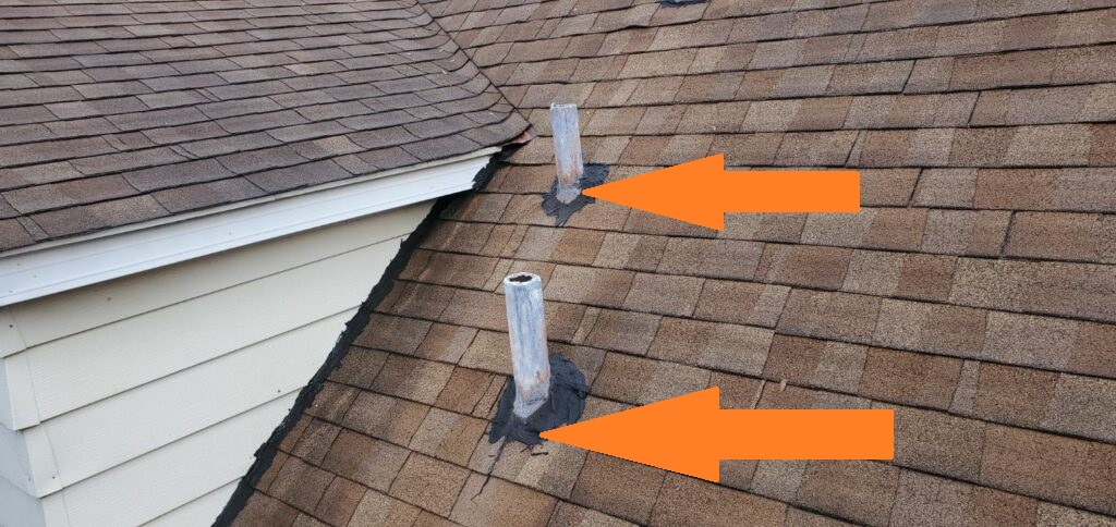 Flashing incorrectly done on plumbing vents