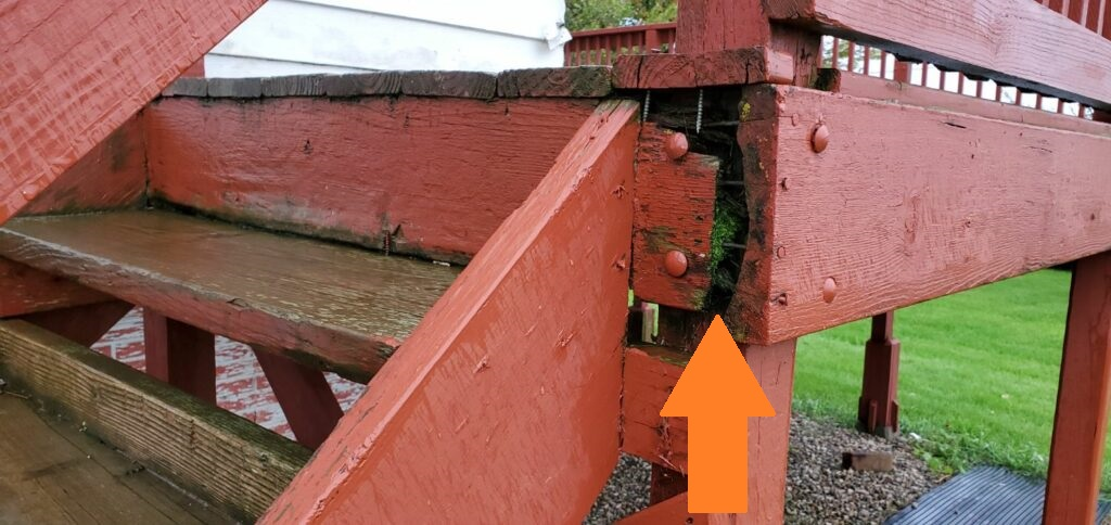 Deck moisture damage causing structural damage