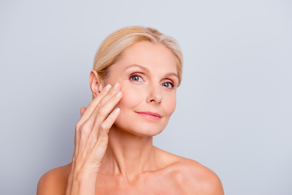 middle aged woman with amazing skin
