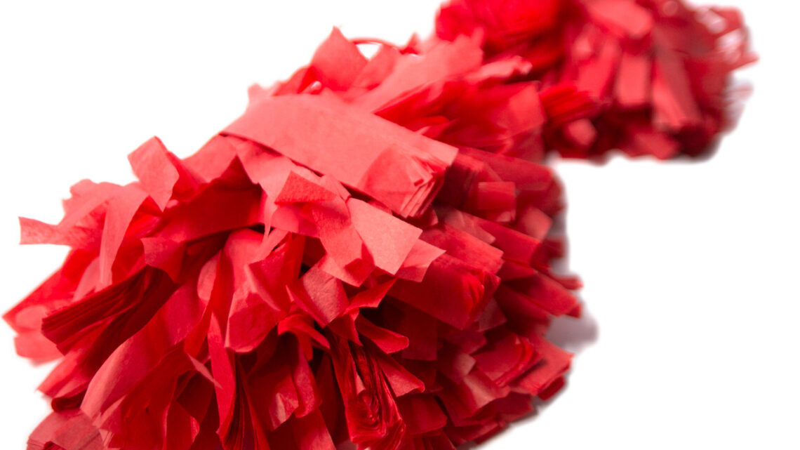 Pompons cheerleaders rouges en soie