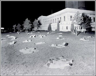 Residents of Lincoln, Nebraska spend the night on the lawn of the state capital on July 25, 1936. The temperature that night never fell below 91°, perhaps the warmest night ever recorded anywhere in the United States outside of the desert Southwest.
