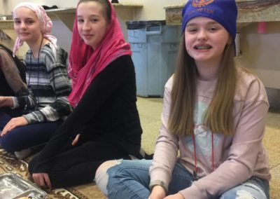 RDJ students with head scarves at lunch