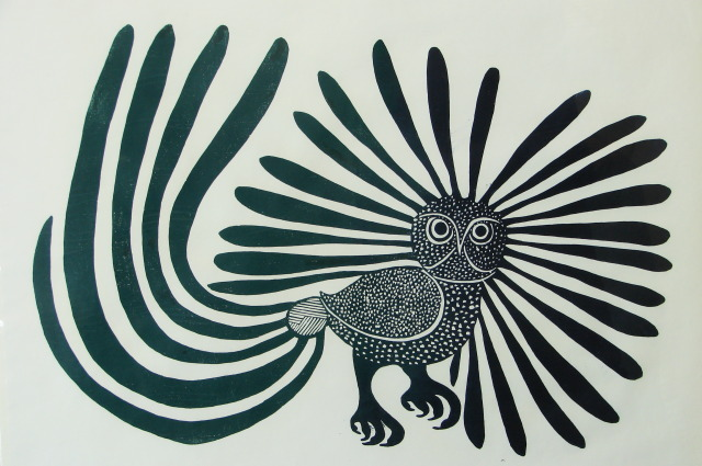 The famous Inuit Art print of the Owl, a part of the Dennos collection.
