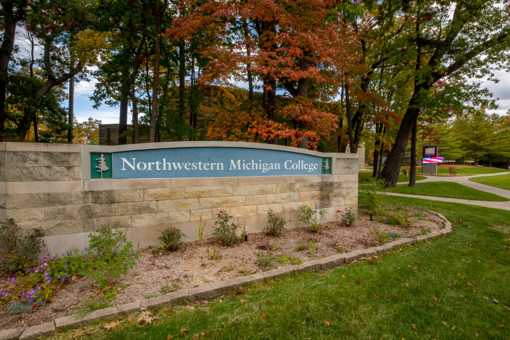 The entrance to Northwestern Michigan College in Traverse City