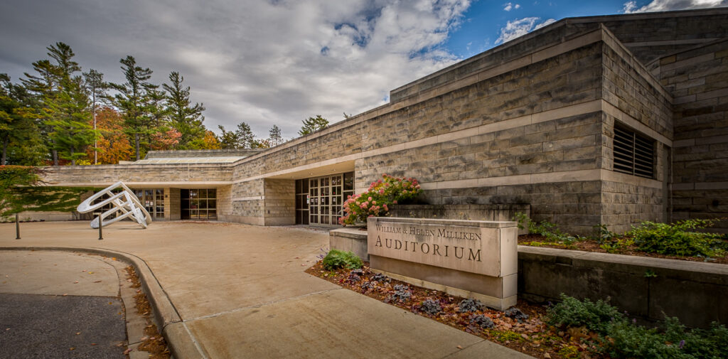 The entrance to the Milliken Auditorium and Dennos Museum Center at Northwestern Michigan College (NMC)