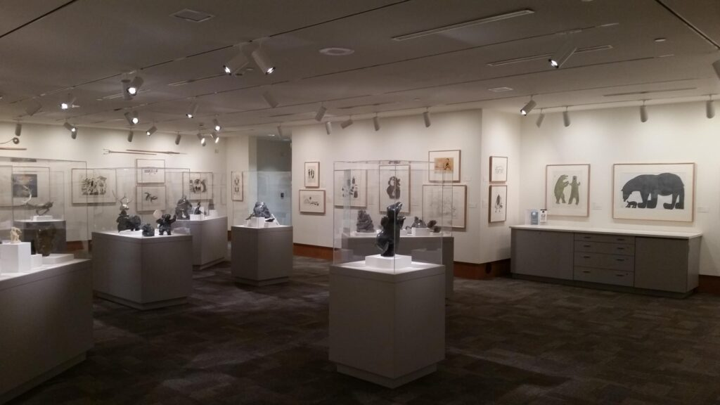 An interior view of part of the Inuit Art Collection of the Dennos Museum at NMC.