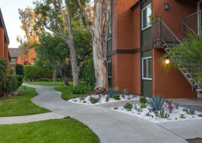Walkways at Highland Pinetree Apartments with Landscaping