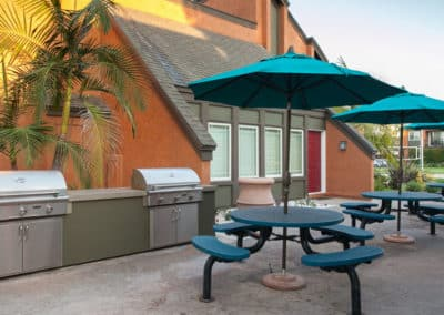 Outdoor BBQ Grills & picnic areas with blue round tables with umbrella and chairs