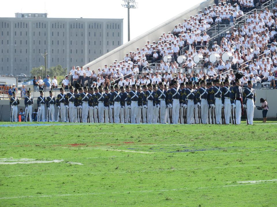 The 2015 Summerall Guards prepare to perform The Citadel Series at halftime. Oct 2014