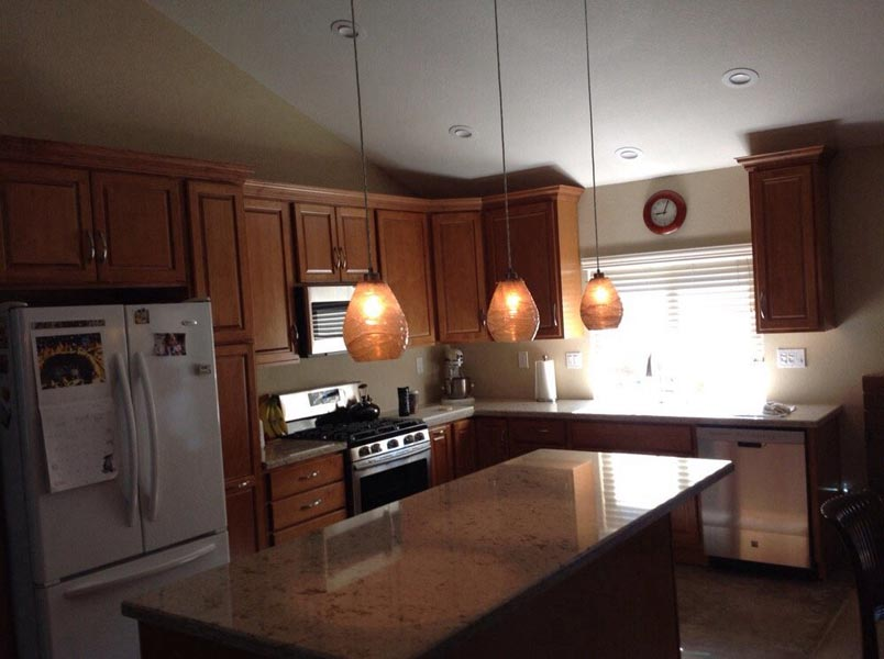 Kitchen with new cabinets & lightning