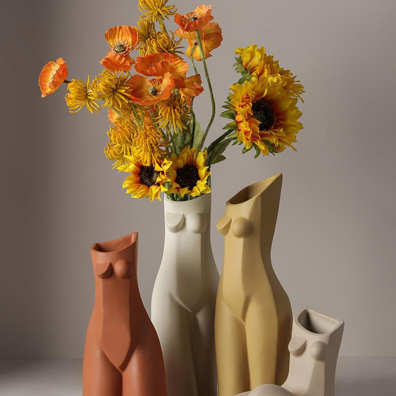 Tutu at home female naked body porcelain vase design