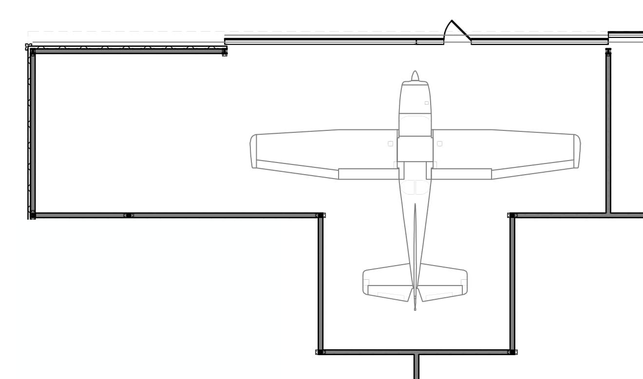 42' Door / 33' Depth  plus 380 sq. ft. workshop