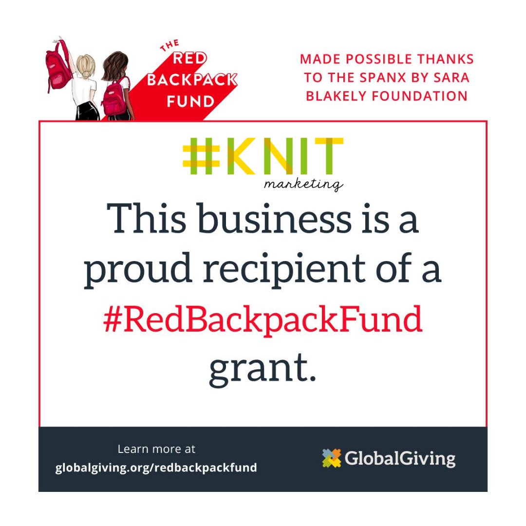Red Backpack Fund Knit Marketing