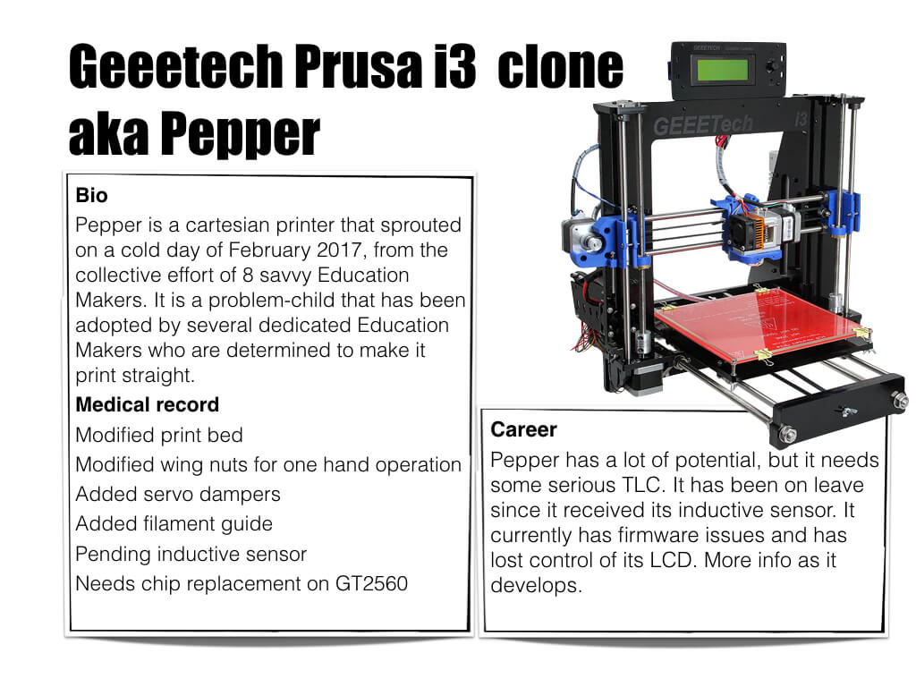 3D Printer Geeetech Prusa i3 aka Pepper - Bio