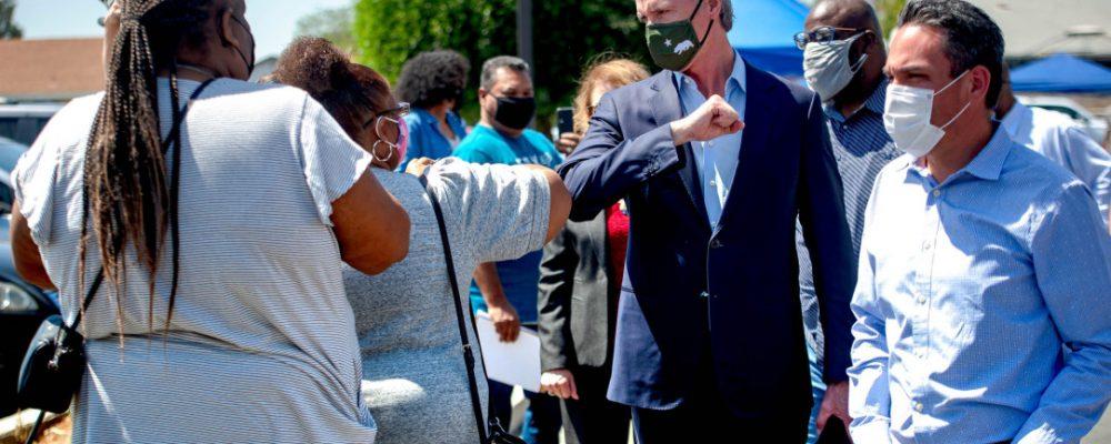 Gov. Gavin Newsom visits San Bernardino coronavirus vaccination site