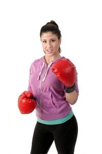 Workout woman with boxing gloves
