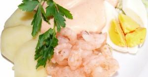 shrimp salad potatoes and eggs