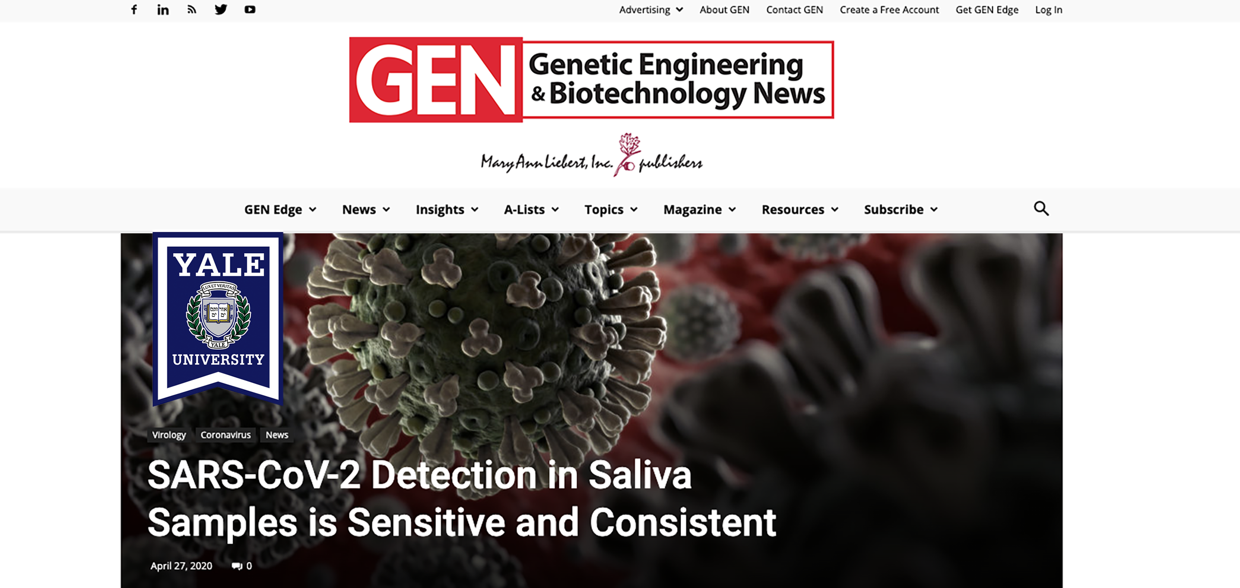GENETIC ENGINEERING AND BIOTECH NEWS-SALIVA COLLECTION AFFIRMED IN COVID-19 TESTING