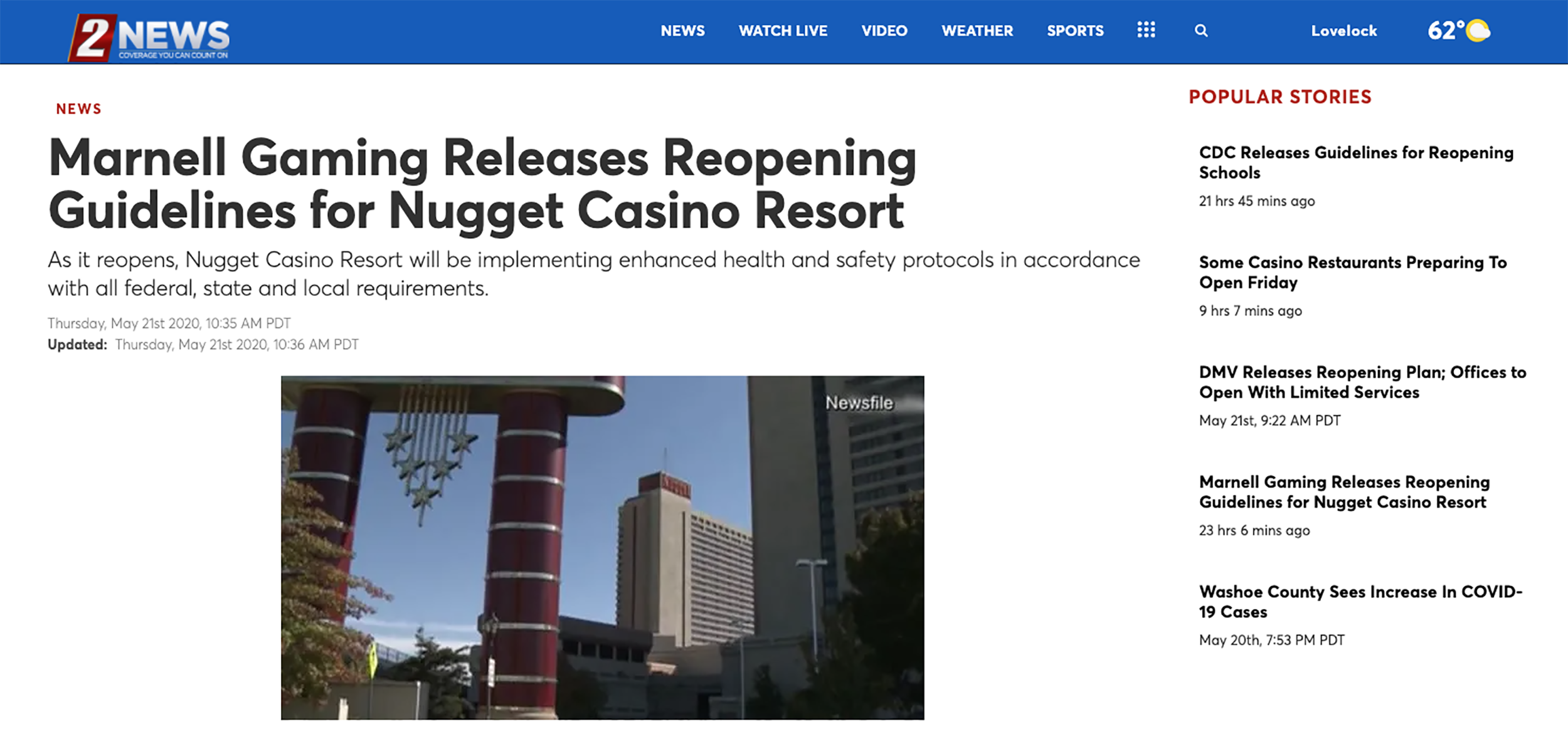 2NEWS- Nugget Casino Resort Reopens