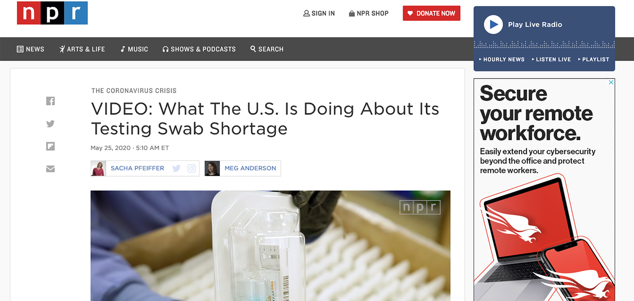 NPR Video- Swab and Saliva Testing for COVID-19 Update Getting back to normal